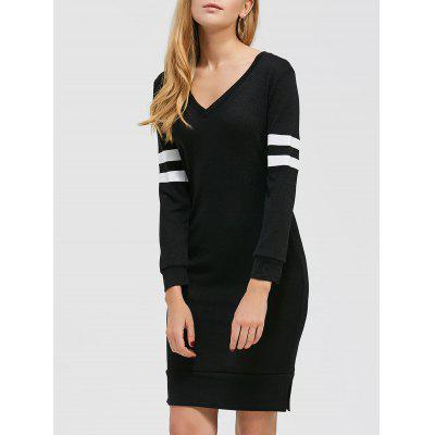 Buy BLACK Color Block Knee Length Casual Dress Fall for $14.35 in GearBest store