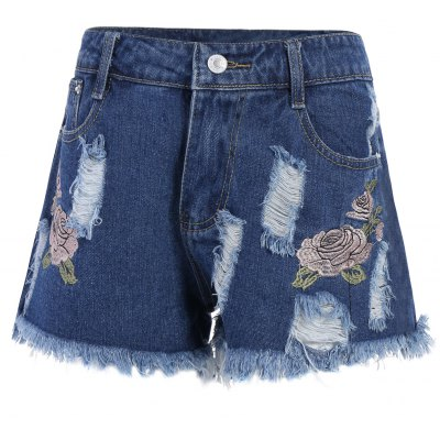 Floral Embroidered Frayed Shorts