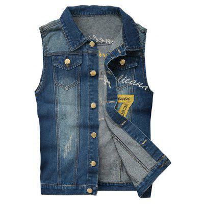 Embroidered Scratched Denim Vest