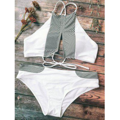 Striped Cutout Halter Bikini