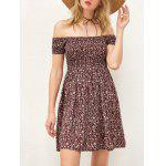 Off The Shoulder Elastic Waist Tiny Floral Print Dress - WINE RED
