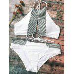Striped Cutout Halter Bikini - WHITE