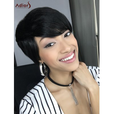 Buy Short Straight Side Bang Capless Heat Resistant Synthetic Wig BLACK for $12.59 in GearBest store