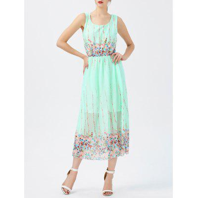 Chiffon Sheer Floral Swing-Kleid