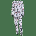 Christmas Tree Print Footed Pajama Sleepwear Sets deal
