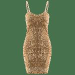 Mini Bodycon Slip Sequins Dress - ALTıN