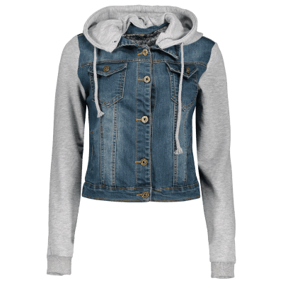 С капюшоном Bleach Wash Denim Jacket панель