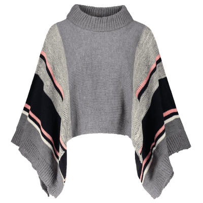Color Block Dolman Poncho Sweater