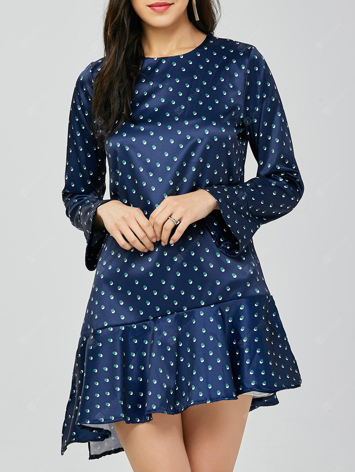 BLUE S Polka Dot Drop Waist Dress