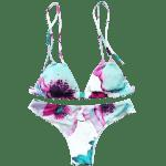 Cute Spaghetti Straps Floral Print Bikini Set For Women - WHITE