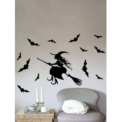 Halloween Witch Bats Removable Bedroom Wall Decals