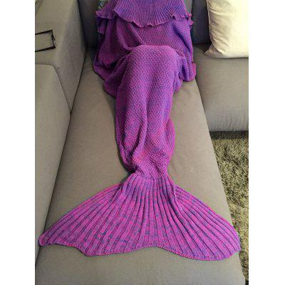 Buy PURPLE Fashion Comfortable Falbala Decor Knitted Mermaid Design Throw Blanket for $25.85 in GearBest store