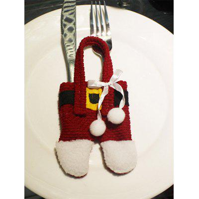 Christmas Party Table Decor Santa Pants Tableware Holder Bag