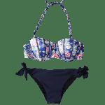 Fashionable Strapless Printed Underwire Bikini Set For Women - DEEP BLUE
