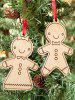 2PCS Wooden Cookie Pendants Christmas Tree Supplies Party Decoration - WOOD