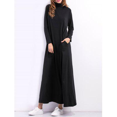 Buy BLACK High Neck Maxi Long Sleeve Casual Dress for $20.68 in GearBest store