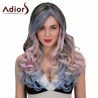 Adiors Hair Synthetic Long Highlights Side Part Wavy Cosplay Wig