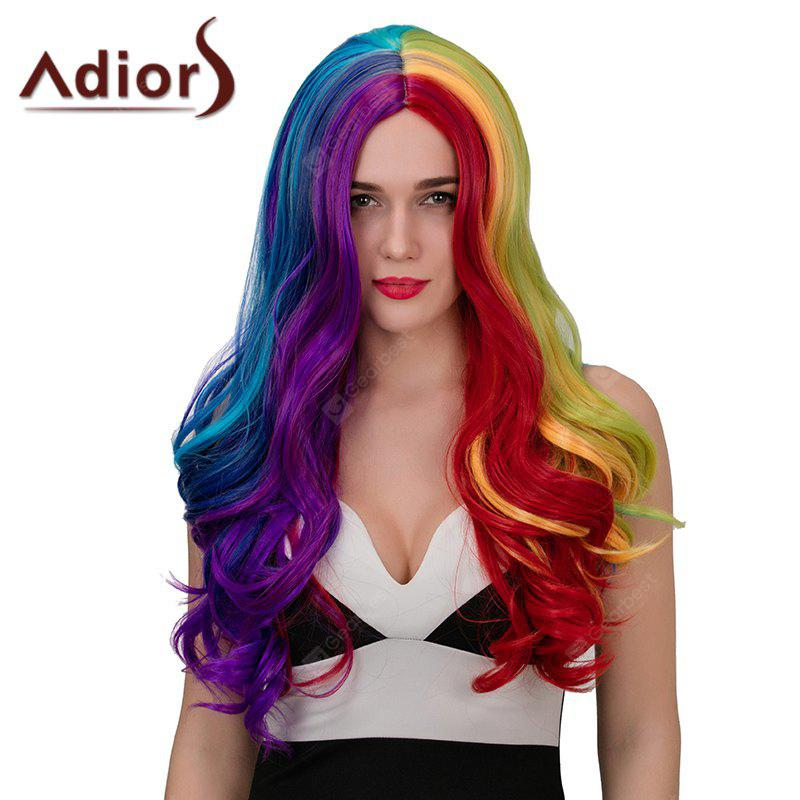 Adiors Hair Long Middle Parting Wavy Highlights Synthetic Cosplay Wig