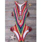 Printed Padded High Cut Monokini One Piece Swimsuit - RED