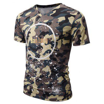 V Neck Paint Splatter Camo Tee