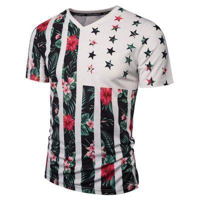 V Neck Floral Printed Striped T Shirts