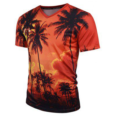 Coconut Tree Print V Neck Hawaiian Tee