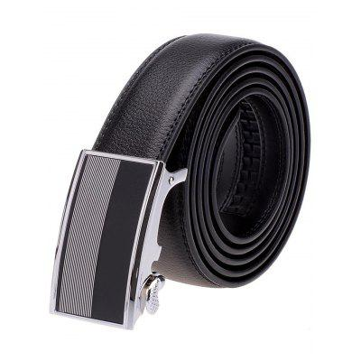 Stripe Panel Metal Auto Buckle Leather Formal Belt