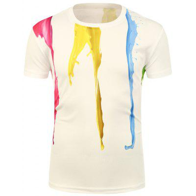 Buy COLORMIX Crew Neck 3D Splatter Paint T-Shirt for $13.72 in GearBest store