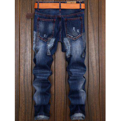 Patches Straight Leg JeansMens Pants<br>Patches Straight Leg Jeans<br><br>Closure Type: Zipper Fly<br>Fabric Type: Denim<br>Fit Type: Regular<br>Material: Cotton, Jean<br>Package Contents: 1 x Jeans<br>Pant Length: Long Pants<br>Pant Style: Straight<br>Waist Type: Mid<br>Wash: Destroy Wash<br>Weight: 0.5360kg<br>With Belt: No