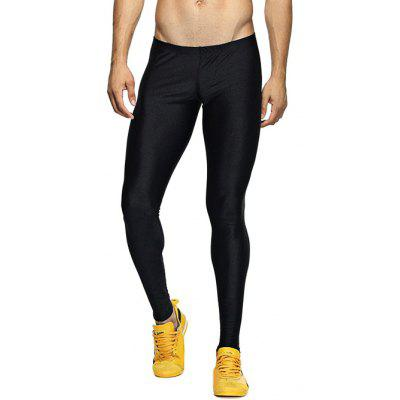 Solid Elastic Waist Gym Pants
