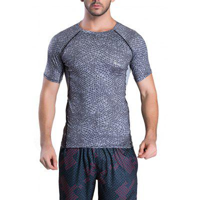 Quick-Dry Irregular Grid Pattern Round Neck Short Sleeve T-Shirt