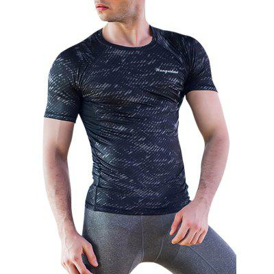 Buy COLORMIX Quick-Dry Round Neck Printed Fitted Short Sleeve T-Shirt For Men for $13.60 in GearBest store