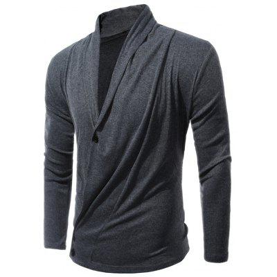 Buy GRAY L Shawl Collar Asymmetric Cardigan for $28.79 in GearBest store