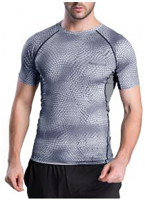 Quick-Dry Snakeskin Pattern Short Sleeve Gym T-Shirt