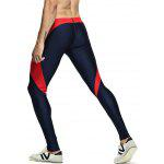 Skinny Color Spliced Elastic Waist Gym Pants - DEEP BLUE