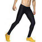 Solid Skinny Elastic Waist Gym Pants - BLACK