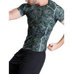 Quick-Dry Fitted Camouflage Printed Short Sleeve T-Shirt - ARMY GREEN