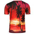 3D Setting Sun Printed Crew Neck T-Shirt - DARKSALMON