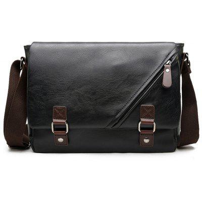 Faux Leather Zip Detail Messenger Bag