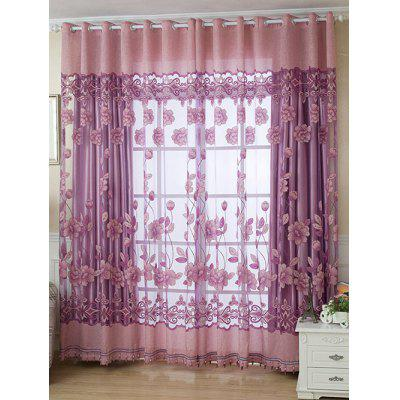 Europe Grommet Roller Floral Tulle Window Curtain