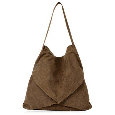 Buy BROWN Casual Slouch Canvas Shoulder Bag for $17.31 in GearBest store