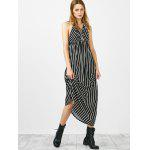 Buy Halter Striped Long Backless Casual Dress L WHITE AND BLACK