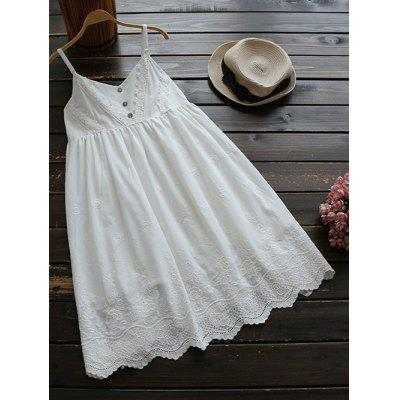 Buy WHITE Adjustable Straps Embroidered Babydoll Dress for $27.74 in GearBest store