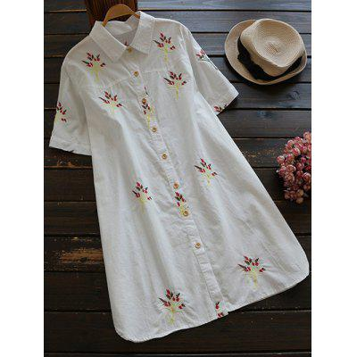 Buy WHITE S Short Sleeve Embroidered Cotton Shirt Dress for $26.10 in GearBest store