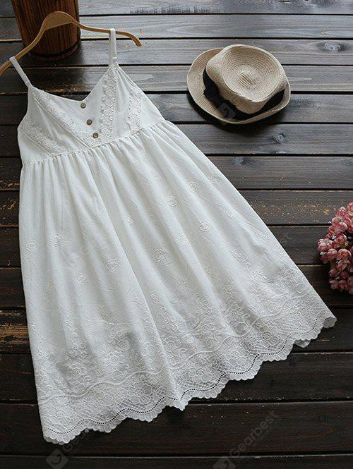 WHITE Adjustable Straps Embroidered Babydoll Dress