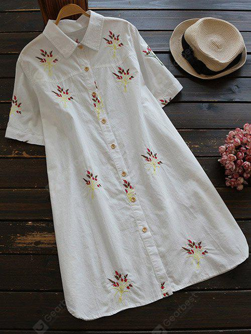 WHITE L Short Sleeve Embroidered Cotton Shirt Dress