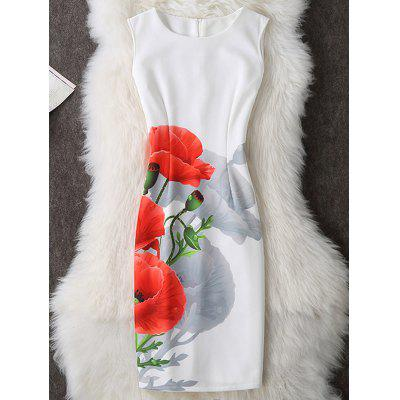 Buy WHITE Floral Print Sleeveless Bodycon Dress for $19.70 in GearBest store