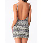 Backless Graphic Sleeveless Short Bodycon Dress - COLORMIX