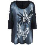 Plus Size Butterfly Print Ripped Long T-Shirt - BLACK