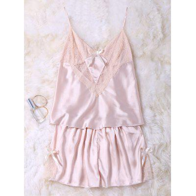 Lace-Panel Cami Tank Top und Shorts